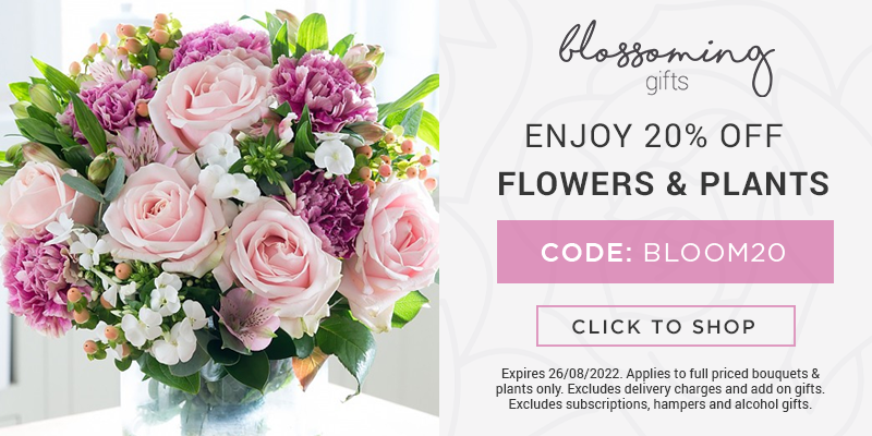Use code BLOOM20 for 20% off all flowers & plants.