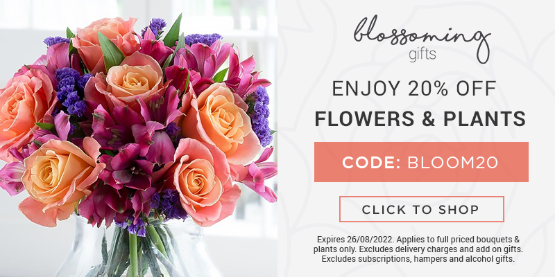 Use code BLOOM20 for 20% off all full priced flowers and plants at Blossoming Gifts.