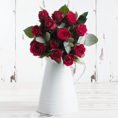 12 Deluxe Red Roses with Green and Silver Foliage