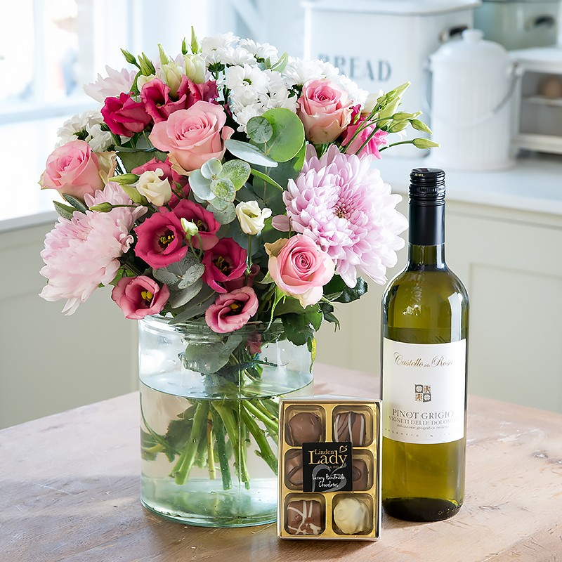 Flowers Wine And Chocolates Delivered Flowers Healthy