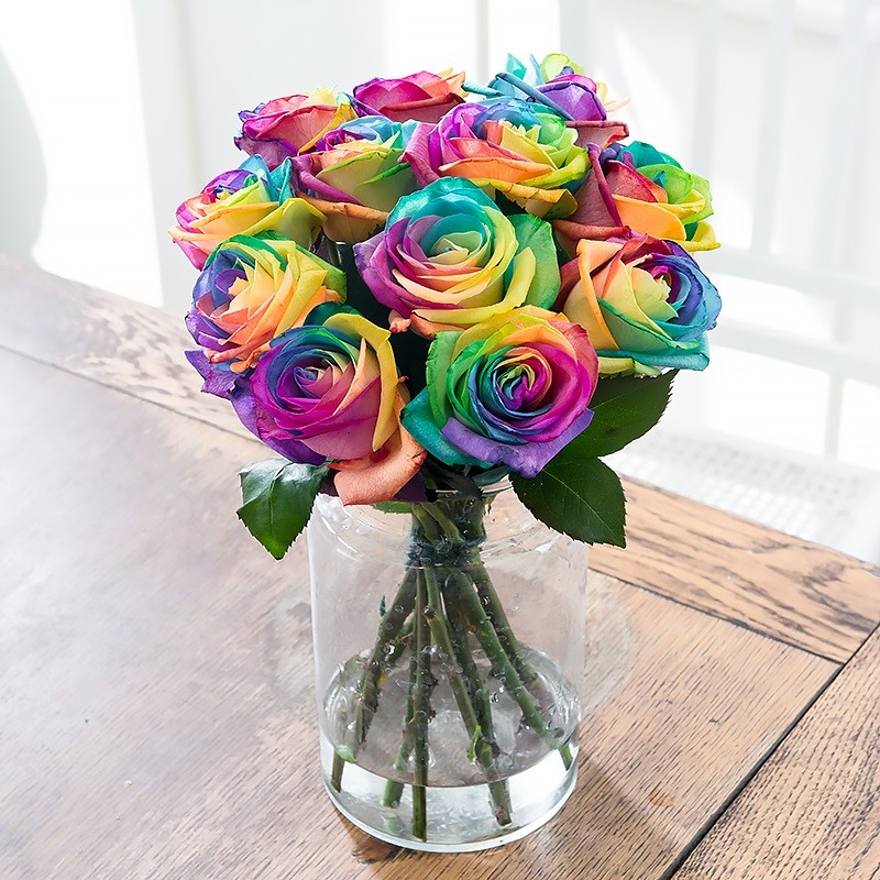 Rainbow roses rainbow rose bouquets blossoming gifts for Where to buy rainbow roses