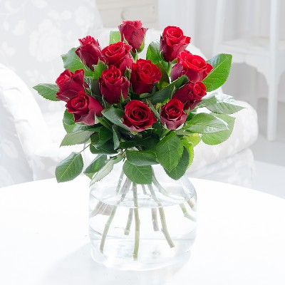 12 Hand-Tied Red Roses