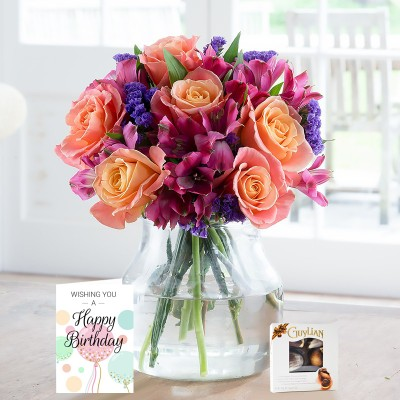 Bright Rose & Alstro Birthday Gift Set