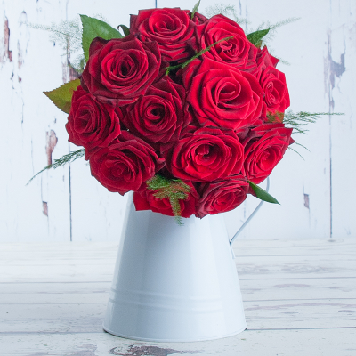 Cherry Red Roses With Vase