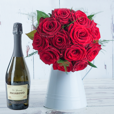 Cherry Red Roses & Prosecco Gift Set