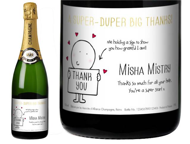Chilli and Bubble's Thank You Champagne Label in a Gold Gift Box